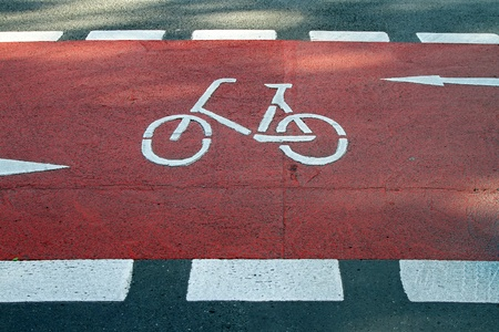segregated: Segregated red path way for bicycle users