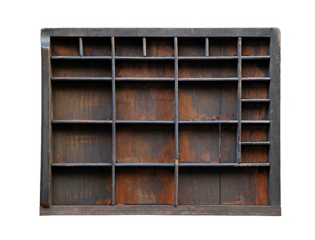compartments: Vintage wooden printer tray isolated Stock Photo