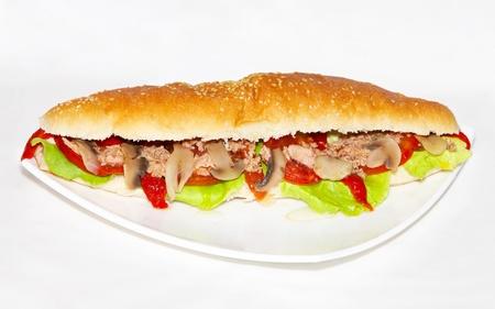 ham sandwich: Big juicy sandwich at white plate