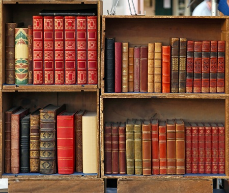 Medieval books in wooden bookcases