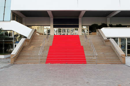 Famous red carpet stairway at festival hall in Cannes photo
