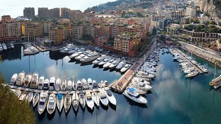 MONTE CARLO, MONACO - JANUARY 18:Fontvieille harbour panorama in Monte Carlo on JANUARY 18, 2012. Aerial photo of Fontvieille harbour panorama in Monte Carlo, Monaco.