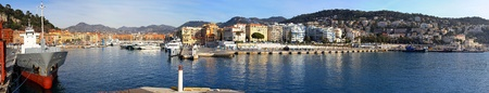 NICE, FRANCE - JANUARY 21:Panorama of port in Nice on JANUARY 21, 2012. Panorama of old port Nice, France.