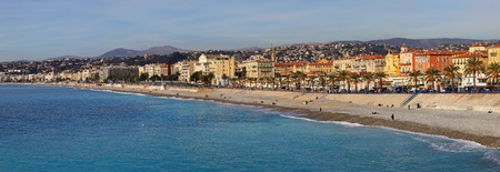 NICE, FRANCE - JANUARY 21:Panorama of promenade in Nice on JANUARY 21, 2012. Panorama of seaside promenade and beach Nice, France.