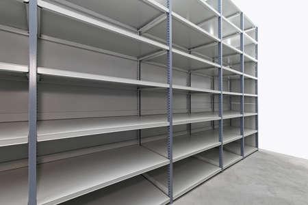 Empty metal shelf in storage room Stock Photo - 12351366