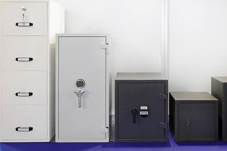 safety deposit box: Several safety and strong steel boxes