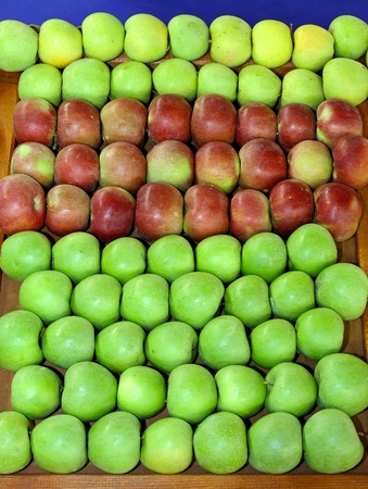 Organic apples variety at market stall Stock Photo - 12678345