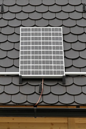 electric cell: Solar panel at rooftop clean energy from sun