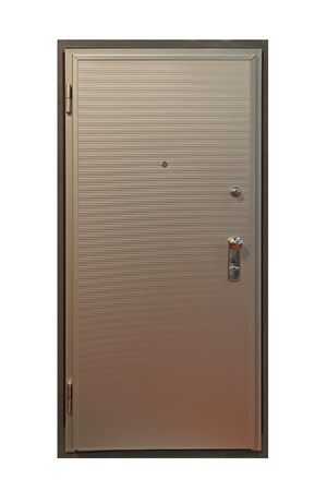 armored: Silver door with armored metal protection Stock Photo