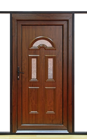 hinged: Brown wood door with small windows