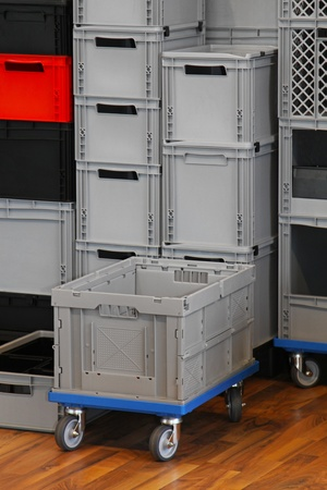Commercial packing crates and boxes for transport photo
