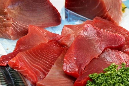 Raw fillets of yellow fin tuna meat Stock Photo - 12880135