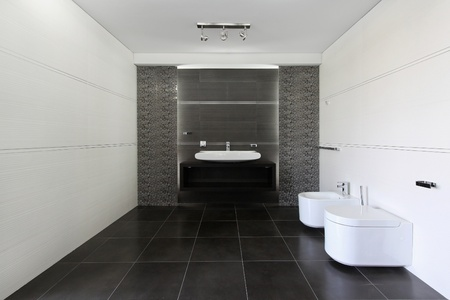 Contemporary bathroom interior in gray and white photo