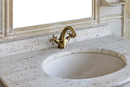 Retro style marble sink with brass faucet photo