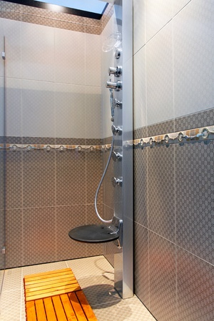 Shower cabin with hydro massage jets and seat Stock Photo - 12880295
