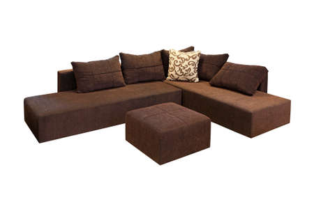 sofa set: Brown corner set furniture isolated included