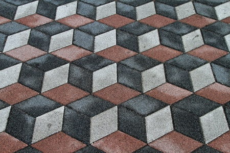 Old tiles with 3d optical illusion photo
