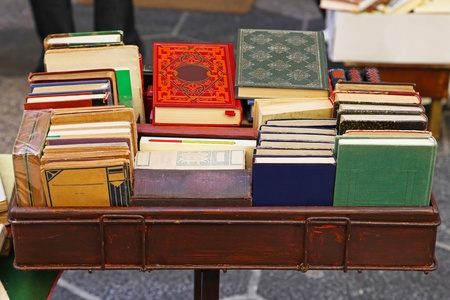 Second hand books at antique market Stock Photo - 12997319