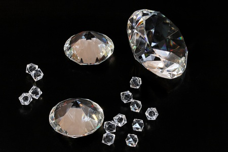 Several gems and diamonds at black background Stock Photo - 13087676