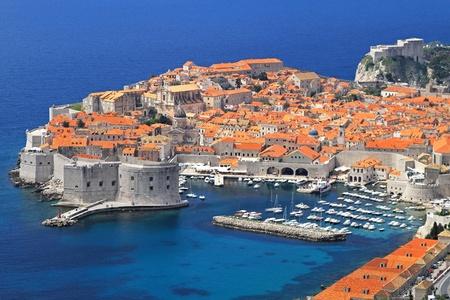 croatia dubrovnik: Aerial shot of old sunny Dubrovnik city