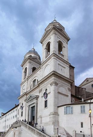 trinita: ROME, ITALY - OCTOBER 23: Trinita dei Monti Church in Rome on OCTOBER 23, 2009. The church of the Santissima Trinita dei Monti in Rome, Italy. Editorial