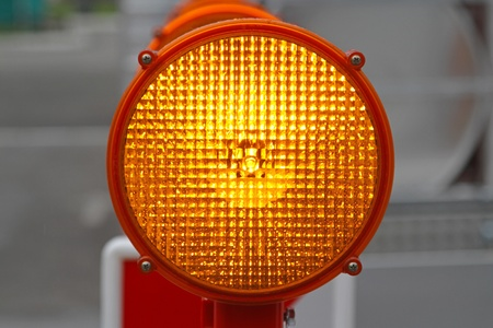 Flashing beacon lights for road works safety photo