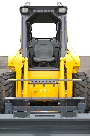 skid loader: Skid steer front loader machine at construction site