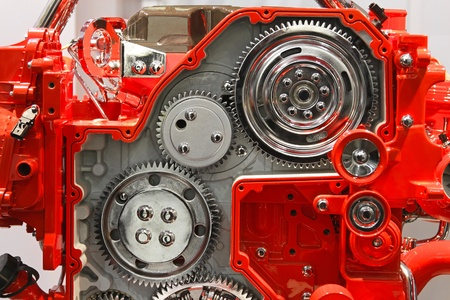 Silver gears in red transmission box machine Stock Photo - 20459121