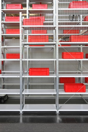 Red plastic crates at shelf in distribution warehouse Stock Photo - 20459109