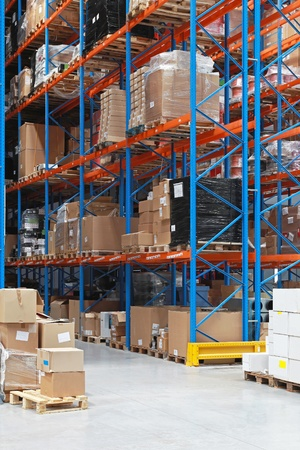 High rack shelving system in distribution warehouse photo