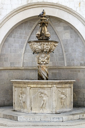 Onofrio small Fountain with dolphins in Dubrovnik Stock Photo - 20471804