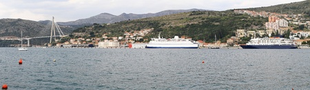 Port of Dubrovnik with ferryboat and ship panorama Stock Photo - 20471785