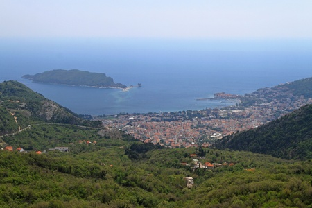 Aerial shot of Budva and island in Montenegro Stock Photo - 20470072