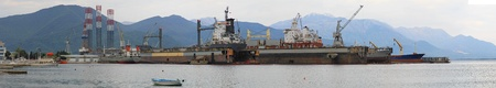 Ship construction in floating shipyard dock panorama Stock Photo - 20471796