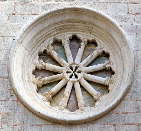 Round marble window at medieval church Stock Photo - 20470859