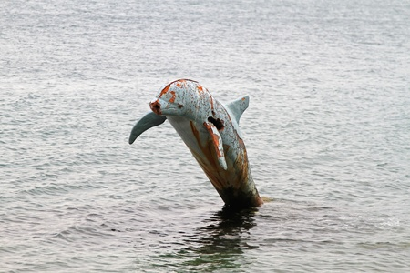 Rusty dolphin sculpture in Adriatic sea in Montenegro Stock Photo - 20471618