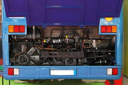Rear view of bus with open hood in garage service Stock Photo - 20471802