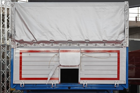 Cargo trailer with small door and silver canopy Stock Photo - 20471588