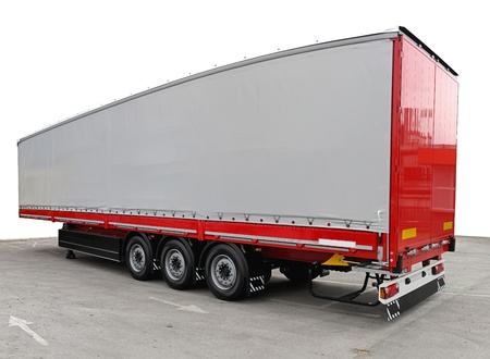 semi truck: Long freight transport trailer for semi truck
