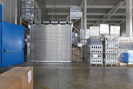 safety box: Warehouse interior with high safety box compartment Stock Photo
