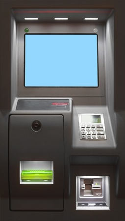 cashpoint: Modern Automated Teller Machine with lcd display Stock Photo