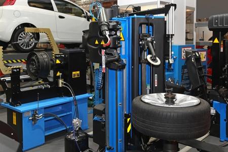 tire repair shop: Interior of tyre repair shop service garage