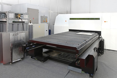 fabrication: Laser cutting machine for plate metal fabrication Stock Photo