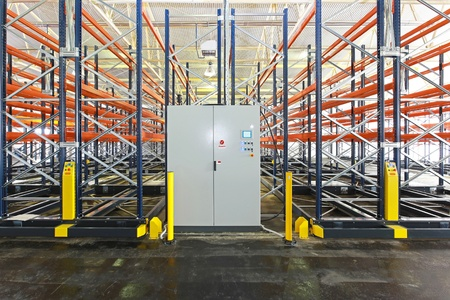 Mobile aisle roller racking system in warehouse photo