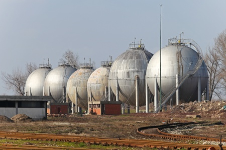 liquefied: Several storage tanks for liquefied natural gas storage
