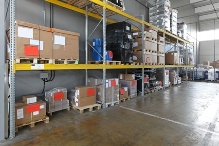 shelving: Industrial shelving system in distribution warehouse