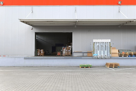 Loading ramp and dock at distribution warehouse photo