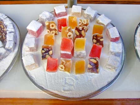 caster: An assortment of Turkish delight in caster sugar