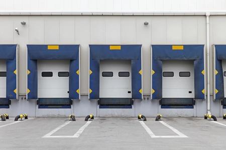 Three loading ramp doors at distribution center photo