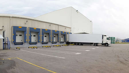 Distribution warehouse exteriopr with logistics center photo
